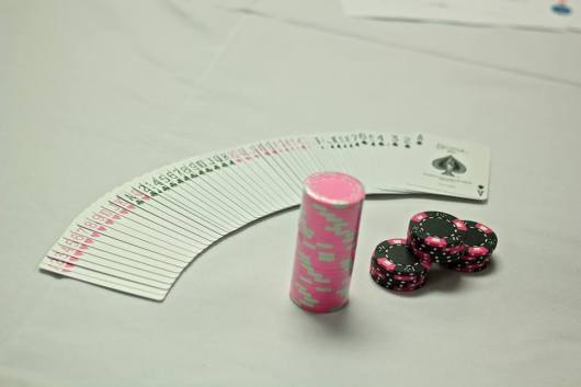 pink poker chips cards